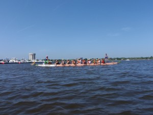 Dragon boats underway.