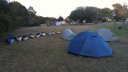 Camping after exploring the wetlands of Cape Romain.